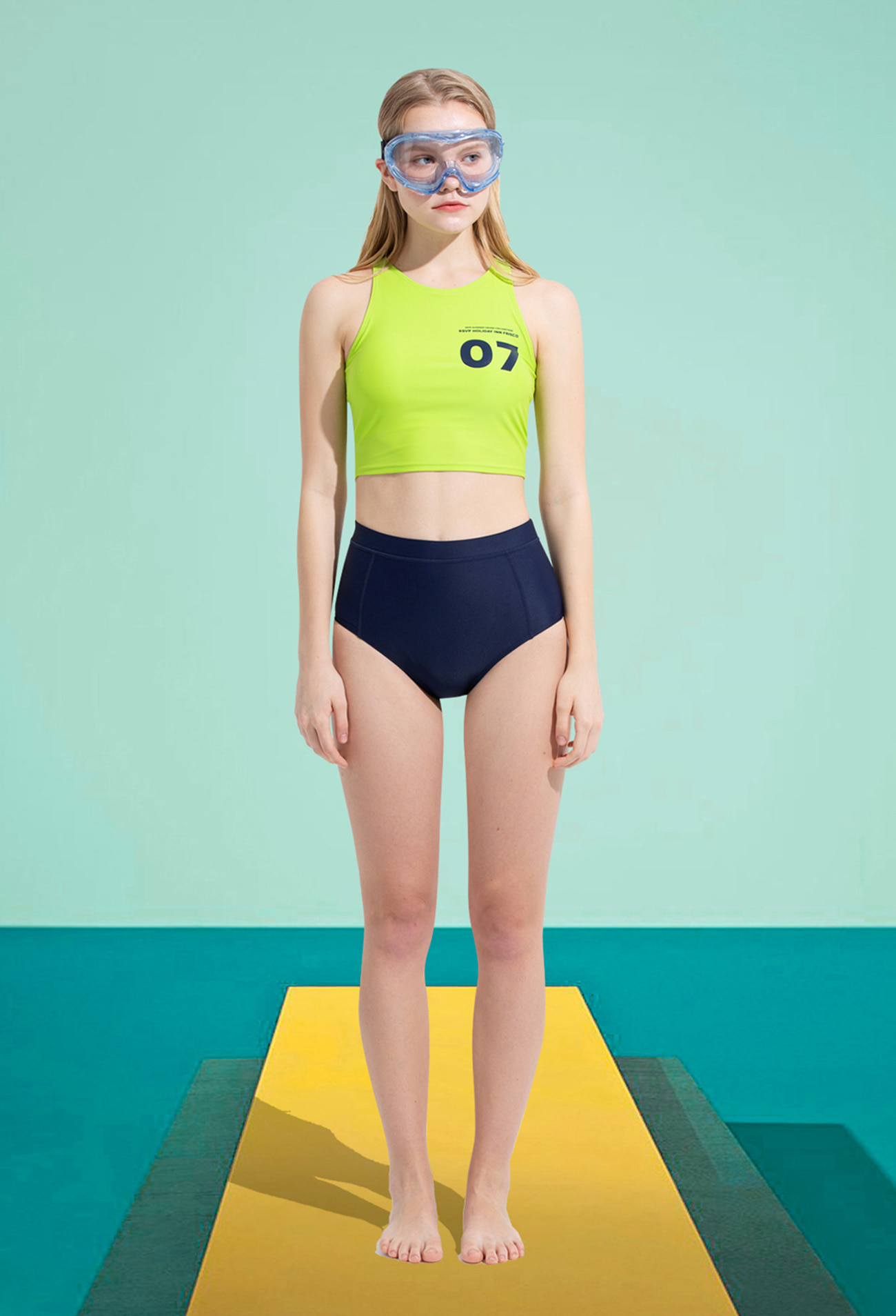 07 NUMBERING SWIM SUIT TOP (LIME)
